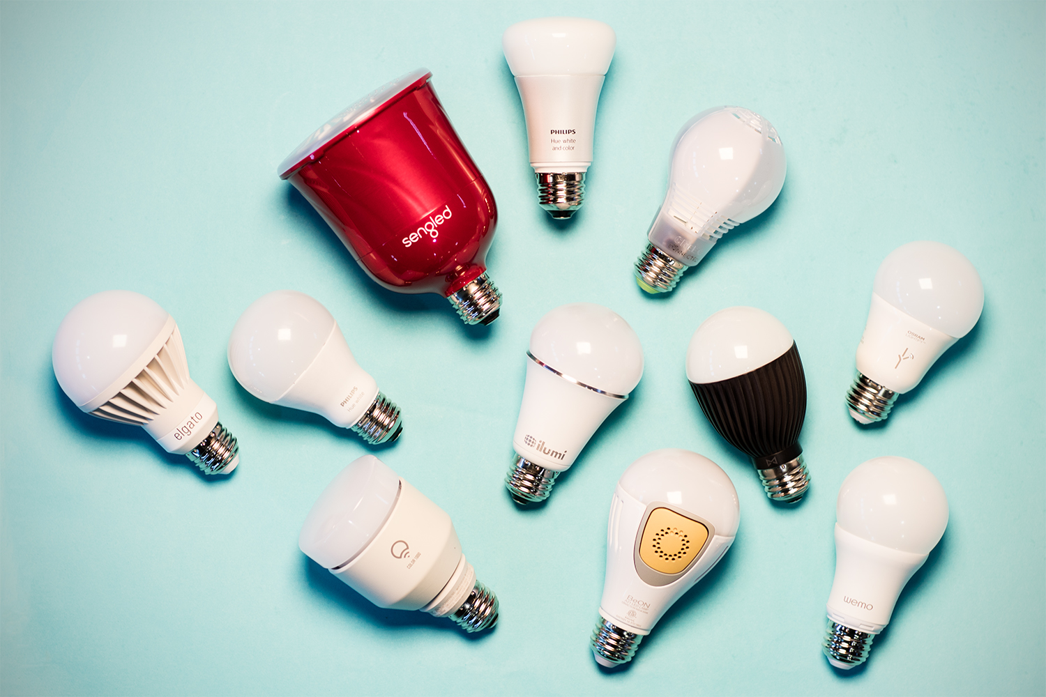 Hero image w/ all the smart bulbs in the article.