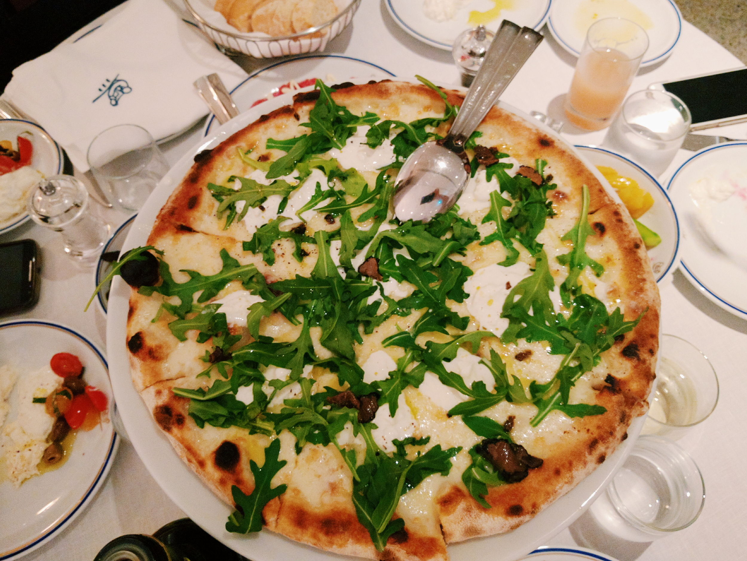 Burrata and truffle pizza