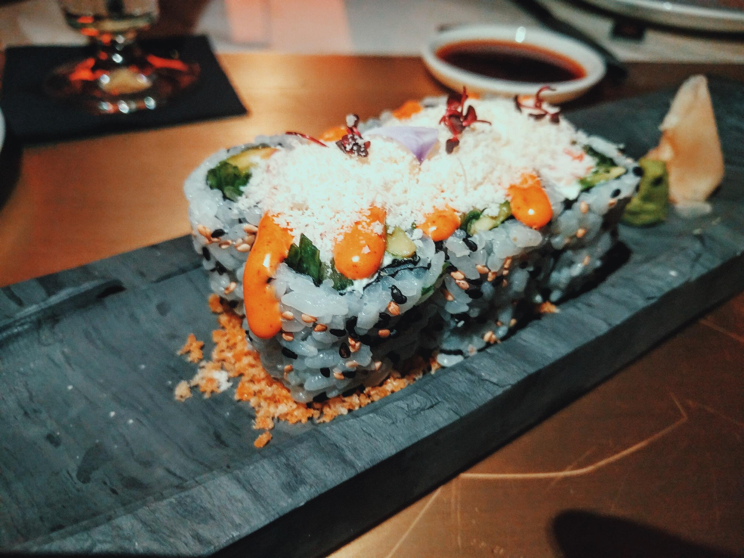 Krusty Krab maki:Fresh king crab + Hokkaido cheese + parmesan cheese