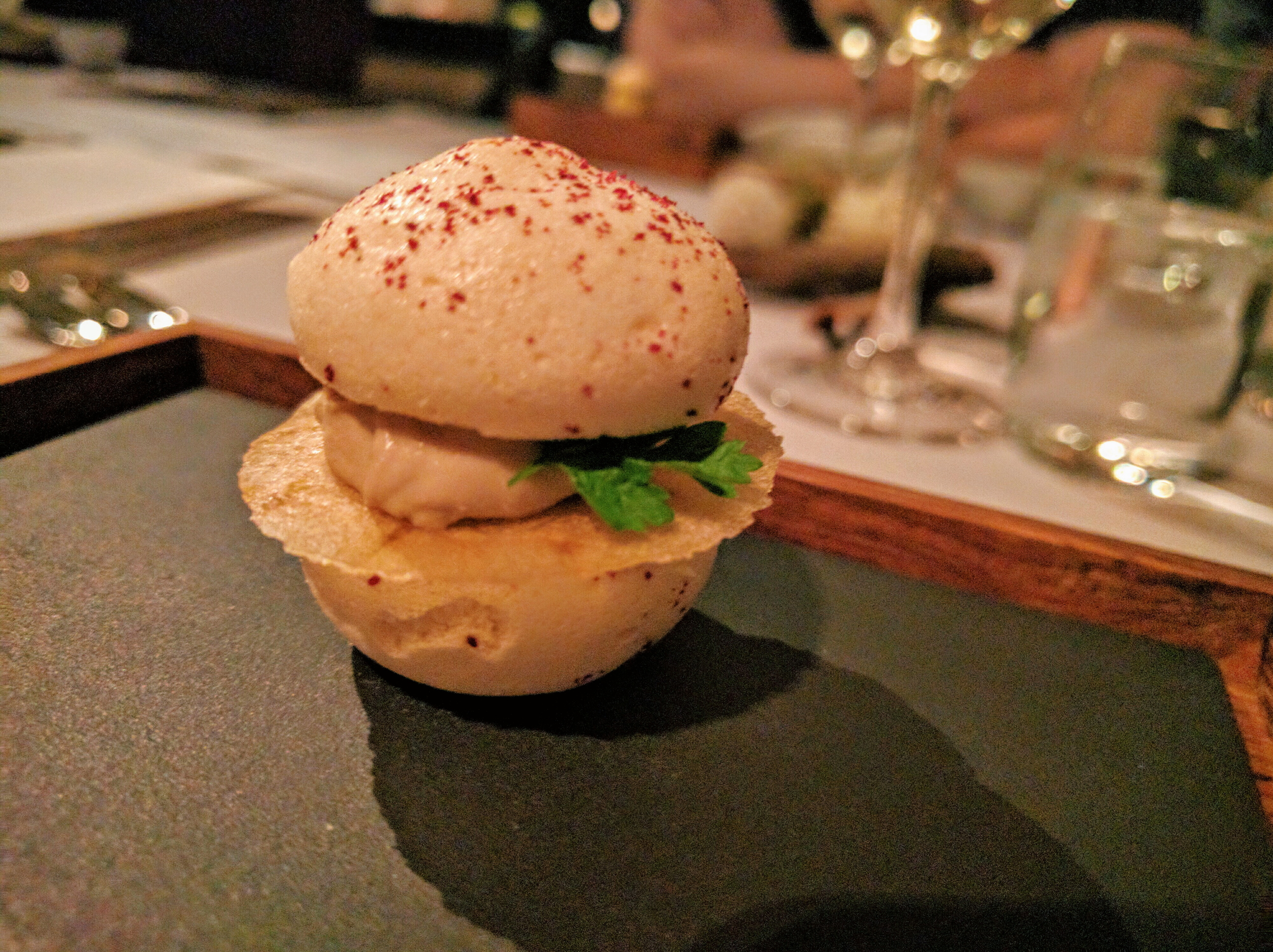 Apple & Lingonberry macaron with foie gras and chervil