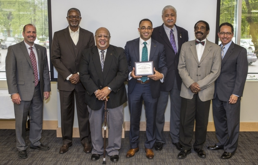 Bernardo Ruiz and Superintendent Jose Banda (Seattle Public Schools) with Breakfast Group Members; Darryl Russel, Dr. Jim Smith, Amani Harris, Ernie Dunston, and Paul Mitchell at the WASA Regional Leadership Award Ceremony (2014)