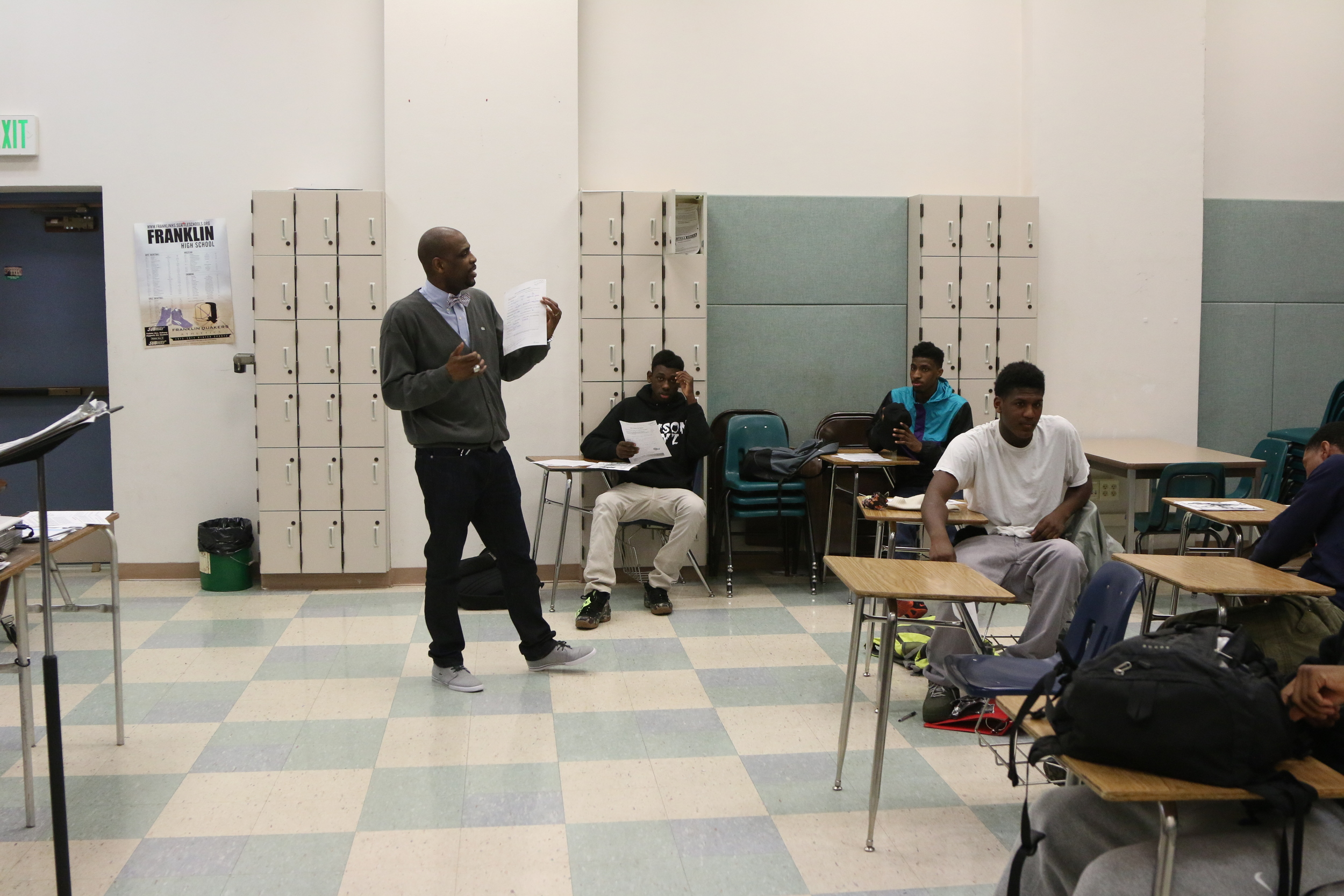 Project M.I.S.T.E.R.™ students in class with instructor Terrance Proctor (Franklin High School - 2014)