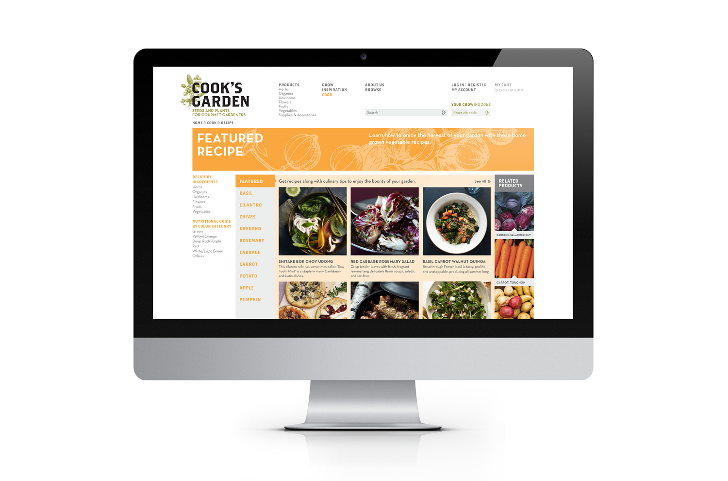Website cook category page