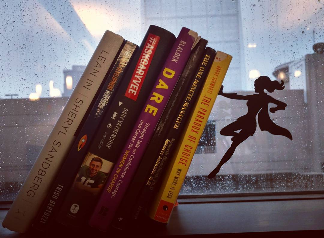"""Oh, you know,  just keeping a rainy-day reading library upright in my spare time."" ~ WonderWoman Bookend Lady, who also works on her Product Management skills in her spare time."