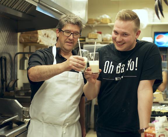 Matt Falk and Bryan Bartel of MJ's Kafe enjoy a Schmaundfat Milkshake! Not even kidding.