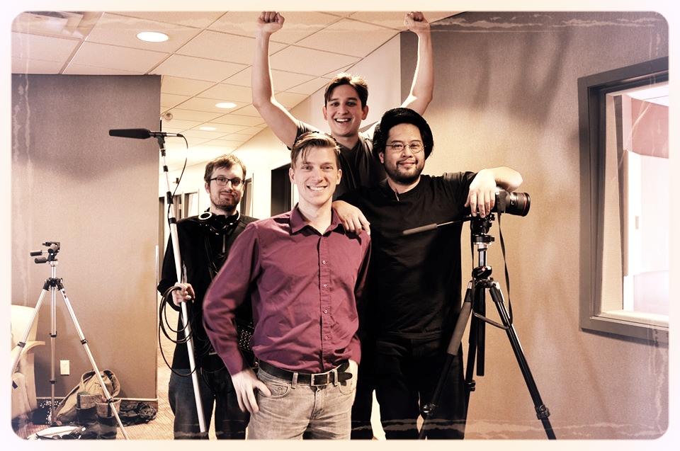 """That Mennonite Joke"" crew - [From left to right] Eric Neufeld (Sound), Orlando Braun (Director), Jorge Requena Ramos (Producer), Charles Venzon (Director of Photography).  Photo credit: Margita Braun"