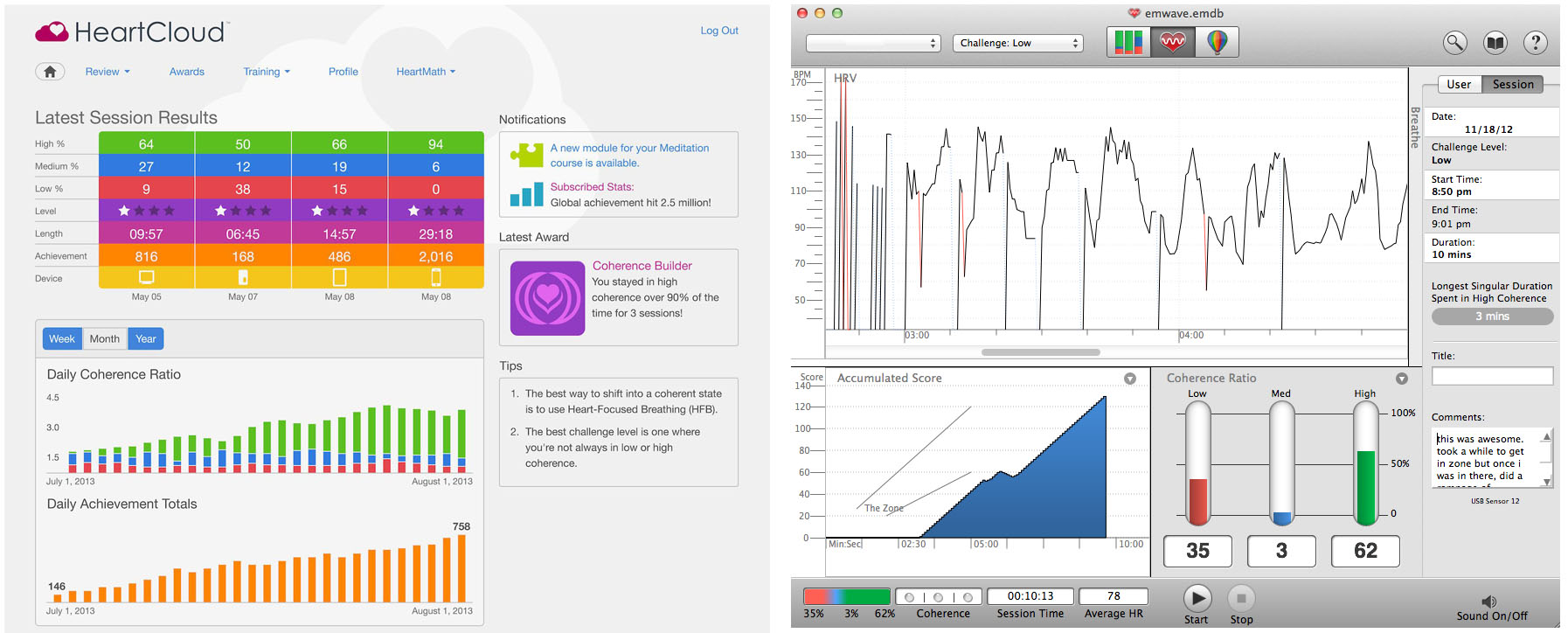 emWave Pro tracks, records and saves session data to monitor your progress. In addition you can set up an online HeartCloud account to access your progress and data, as well as integrate your own emWave device data.
