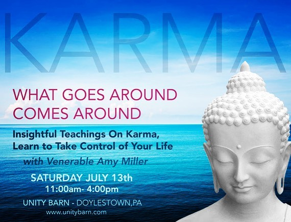 What Goes Around, Comes Around: How Karma Works  Saturday July 13  Have you ever wondered why bad things happen to good people? Join this lively workshop to understand the workings of karma and how some small positive adjustments in life can move you to a more peaceful and happier experience.  Register online at www.unitybarn.com or call 267-880-6322.  Space is limited, preregistration is required  #unitybarn #buckscounty #venamymiller #karma #meditatedoylestown #buddha #dharma #emptiness #everyonewelcome