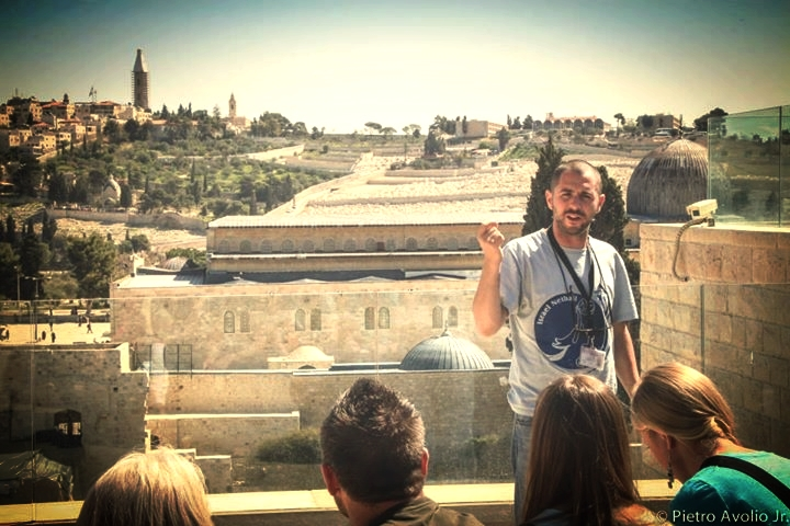 overlooking mount of olives