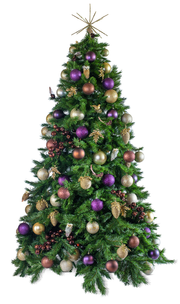 Woodland artificial decorated Christmas tree