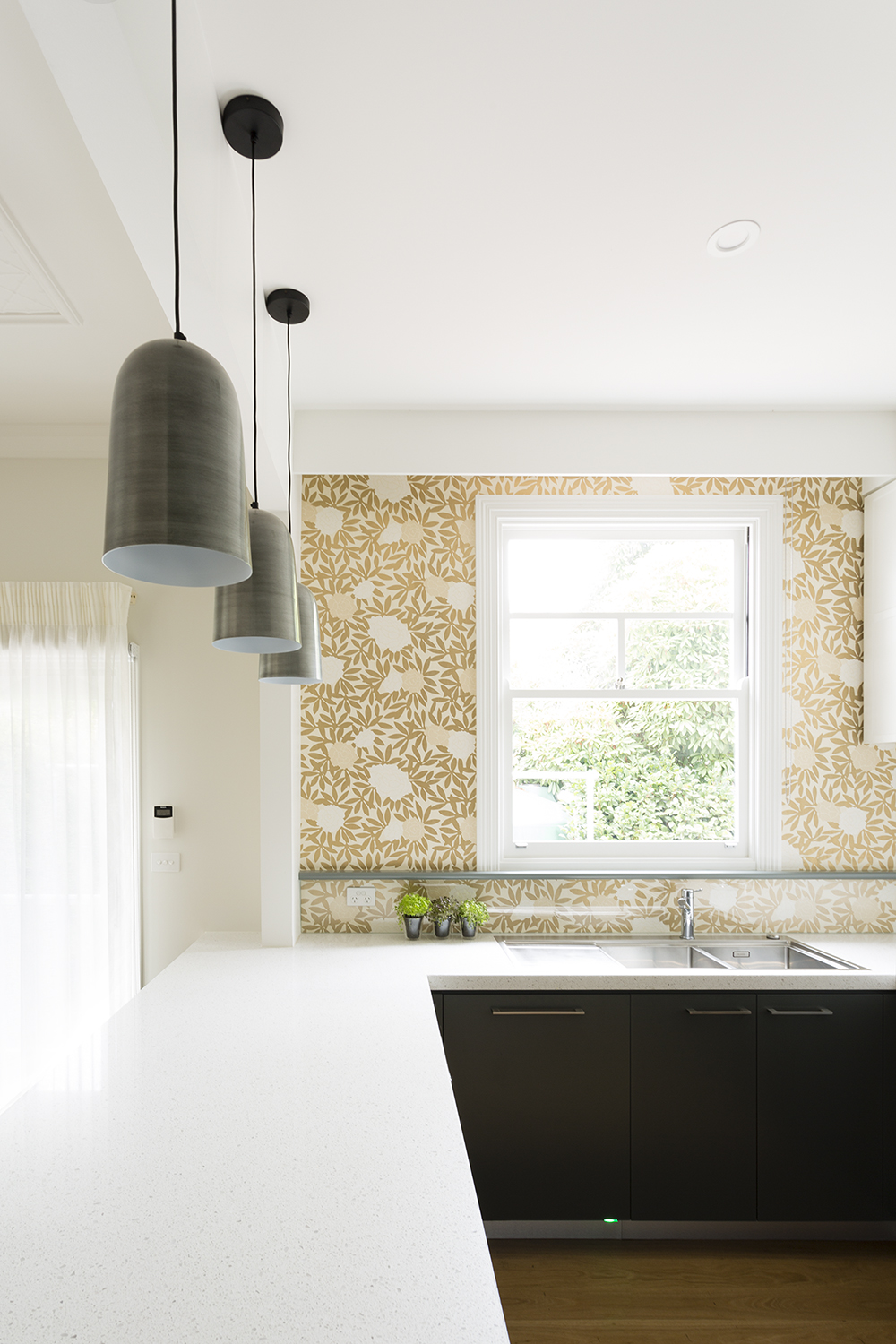 Wallpaper kitchen renovation interior designer melbourne