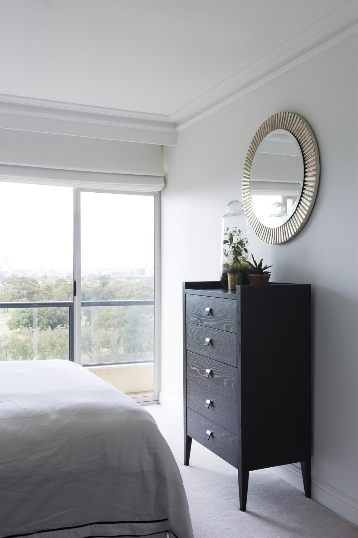 Apartment bedroom design by Melbourne interior designer Meredith Lee