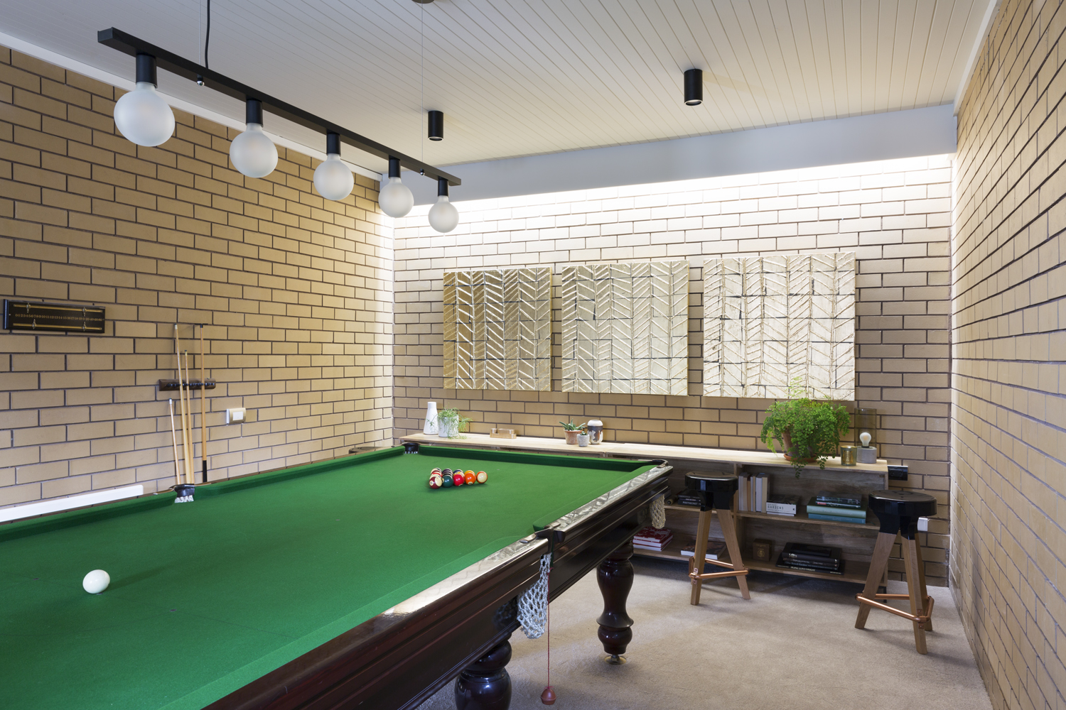 Retro rumpus room design by Interior designer Meredith Lee, Mt Waverely home Melbourne