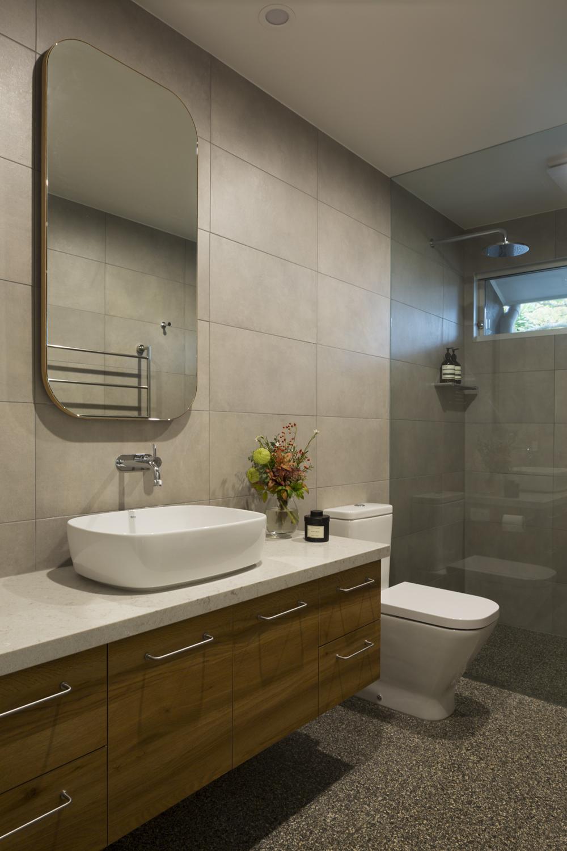 Red Hill ensuite bathroom design by interior designer Meredith Lee. Terrazzo bathroom tiles selected by interior designer Meredith Lee