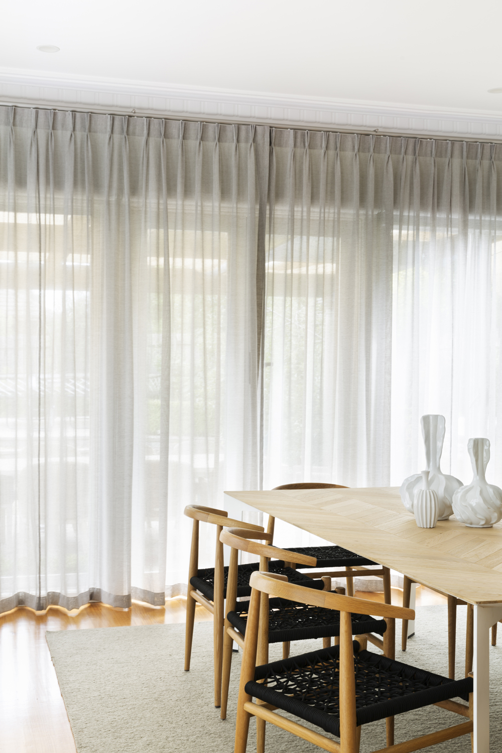 Sheer curtains designed by Melbourne interior designer Meredith Lee