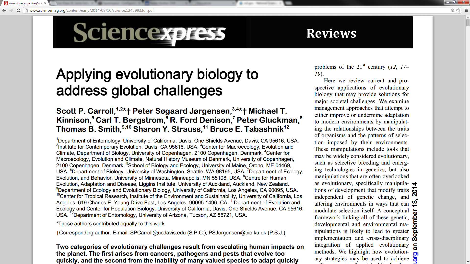 The header of the Science Express release with the team of nine authors highlighted.