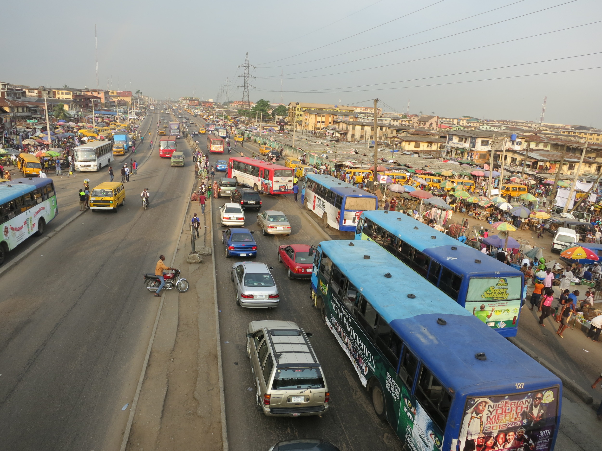 Mega-cities abound in Nigeria, where inadequate urban planning results in massive transportation shortages and traffic jams.