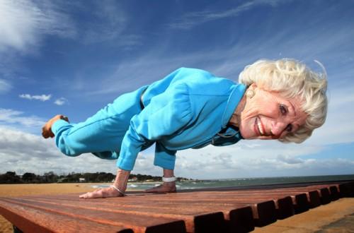 Bette Calman, doing peacock pose at age 83. (Photo source:  MindBodyGreen )