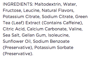 GU Ingredients list (Source: GUEnergy.com)