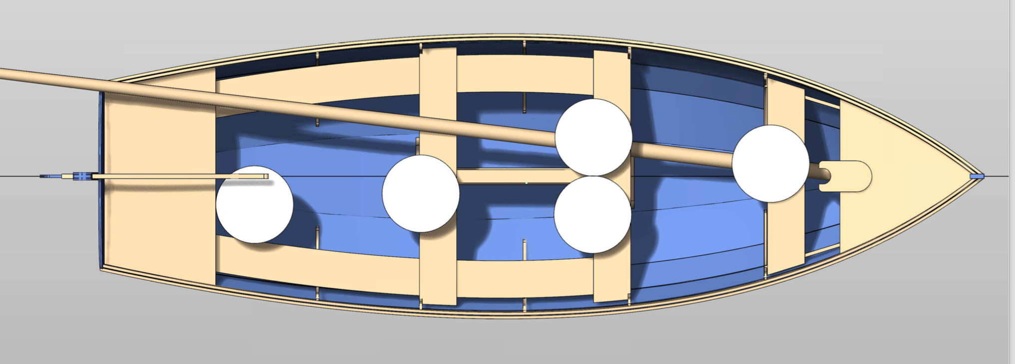 Mast stowage and rowing positions