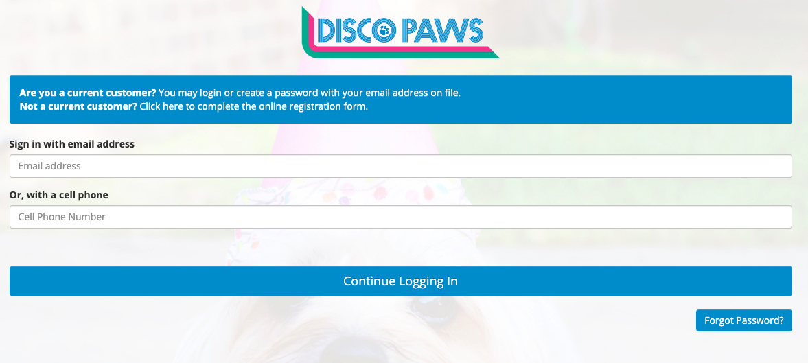 This dog daycare software online customer portal is mobile-friendly and branded for the business.