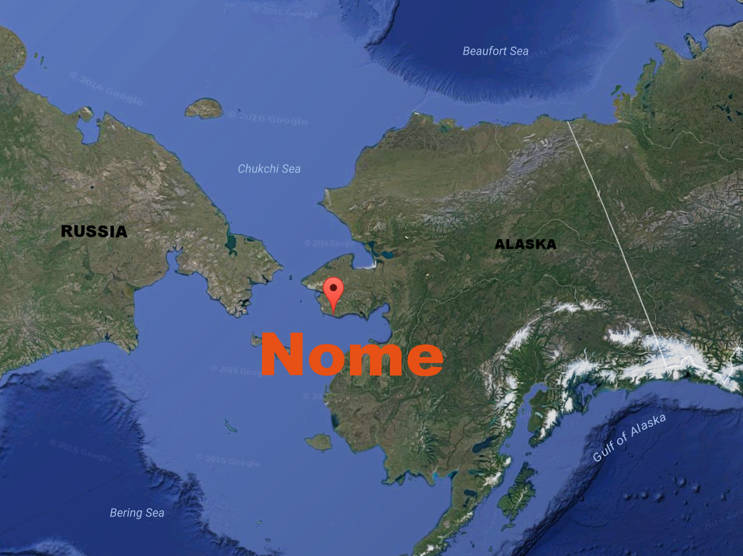 Where is Nome? It is in the Seward peninsula bordered by the Bering sea. It is only accessible by plane or boat.