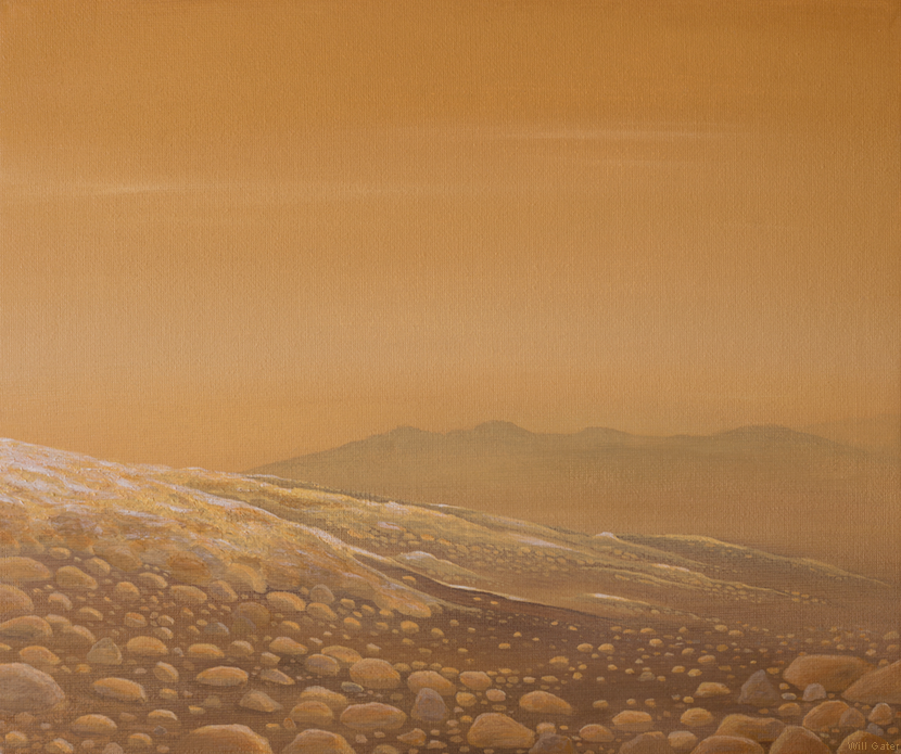 Hazy skies on Titan . Acrylic on canvas board. Inspired by descent images captured by the ESA Huygens probe.