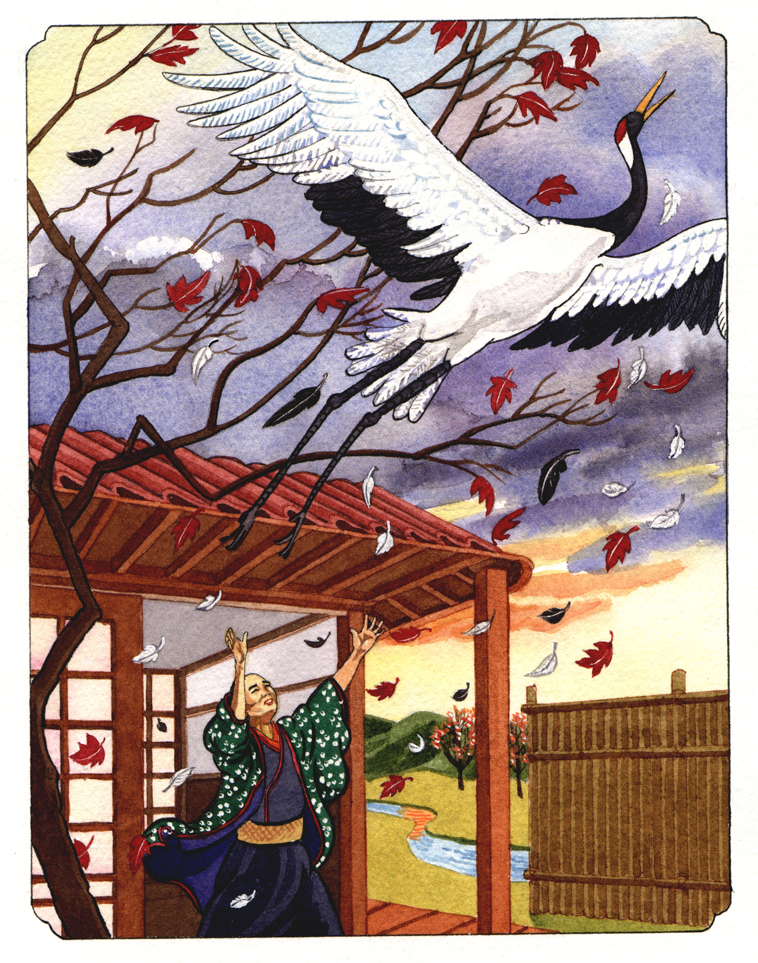 """Illustration from """"The Crane Wife"""""""