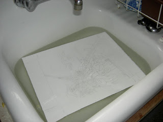 Soak paper in clean sink.
