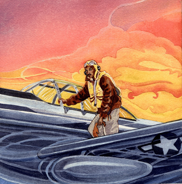 cover to Rochel Coleman's Tuskegee Airmen album, ©art by Cheryl Kirk Noll