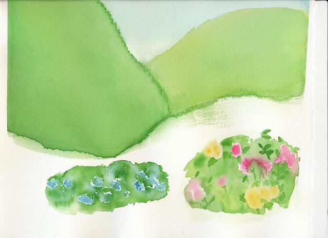 Trying to use a wet on wet style to give a feeling of flowers and grass