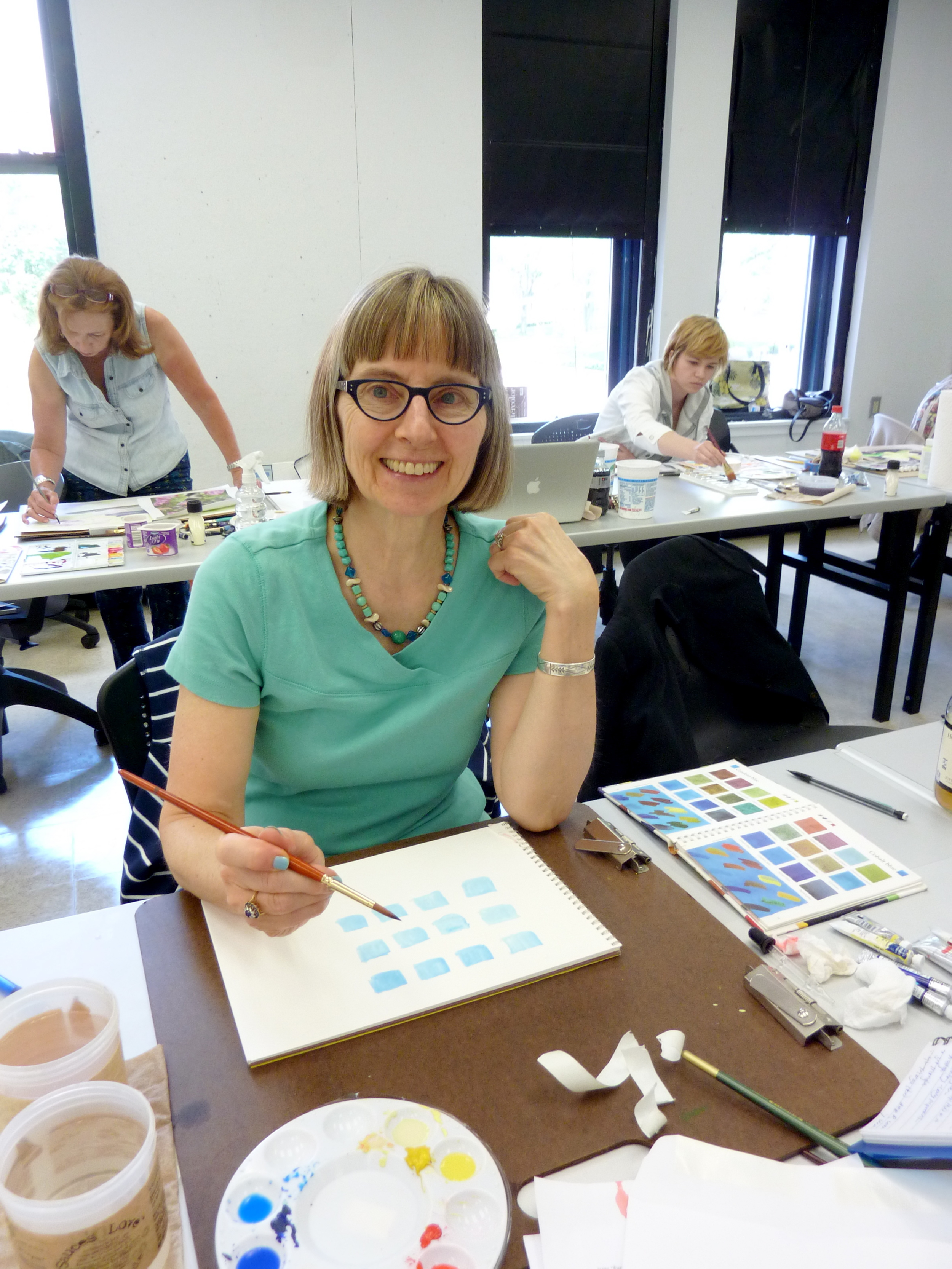 Jane expanded her color knowledge by working on color swatches.