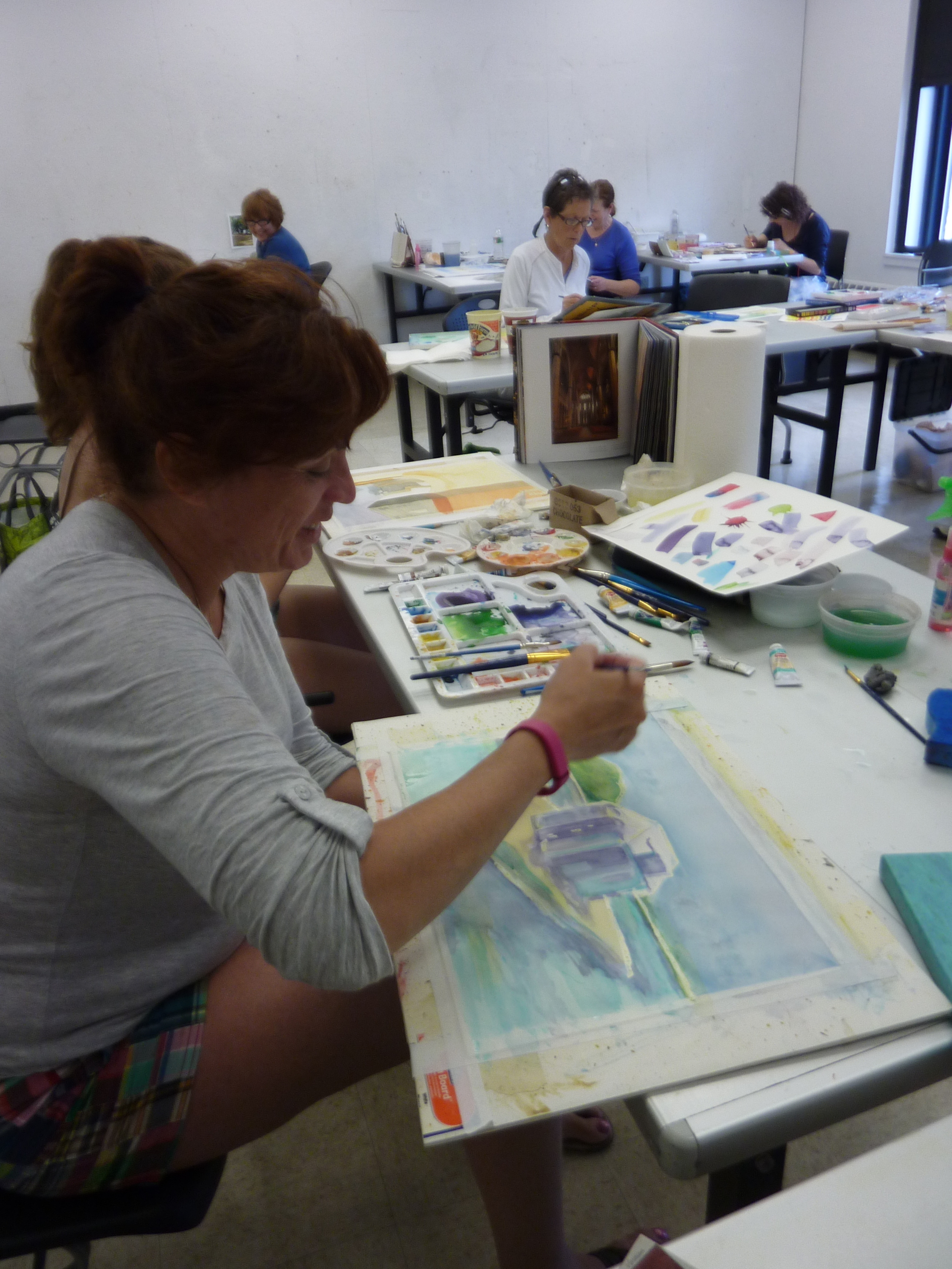 Trish came with her daughter, and worked on a Caribbean scene featuring cool blues and violets.