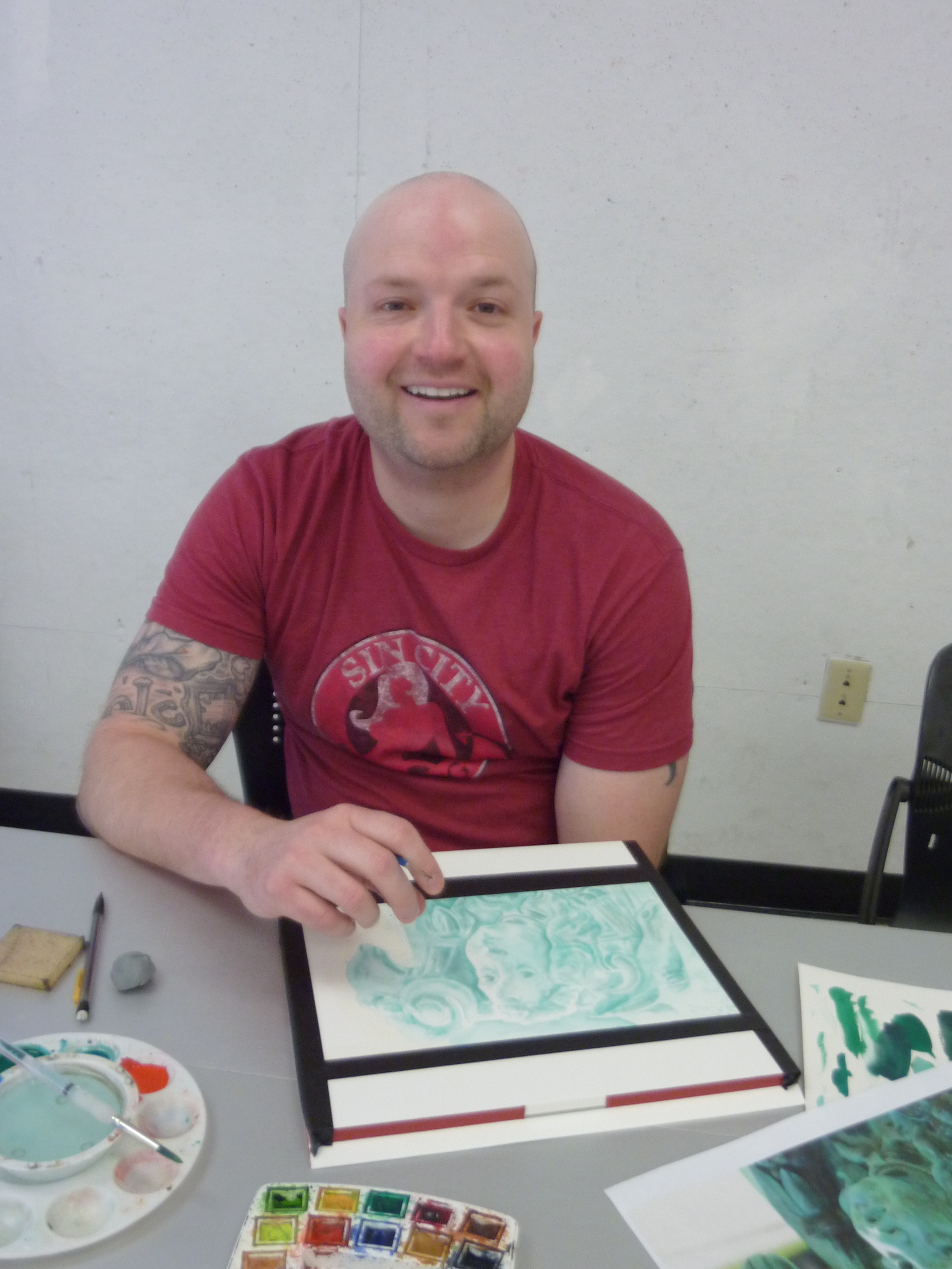 David is a children's book illustration certificate student. He worked on a monochromatic piece where he built up layers of color.