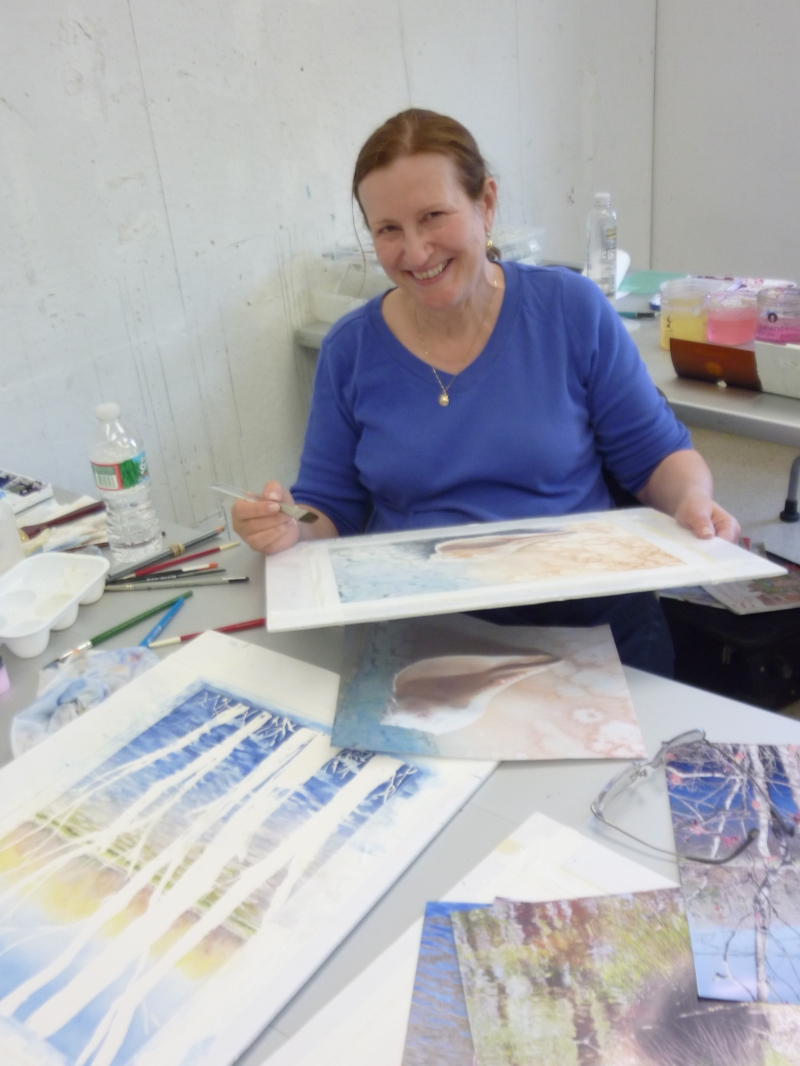Heather did two beautiful paintings, experimenting with salt, masking, wet on wet and more.