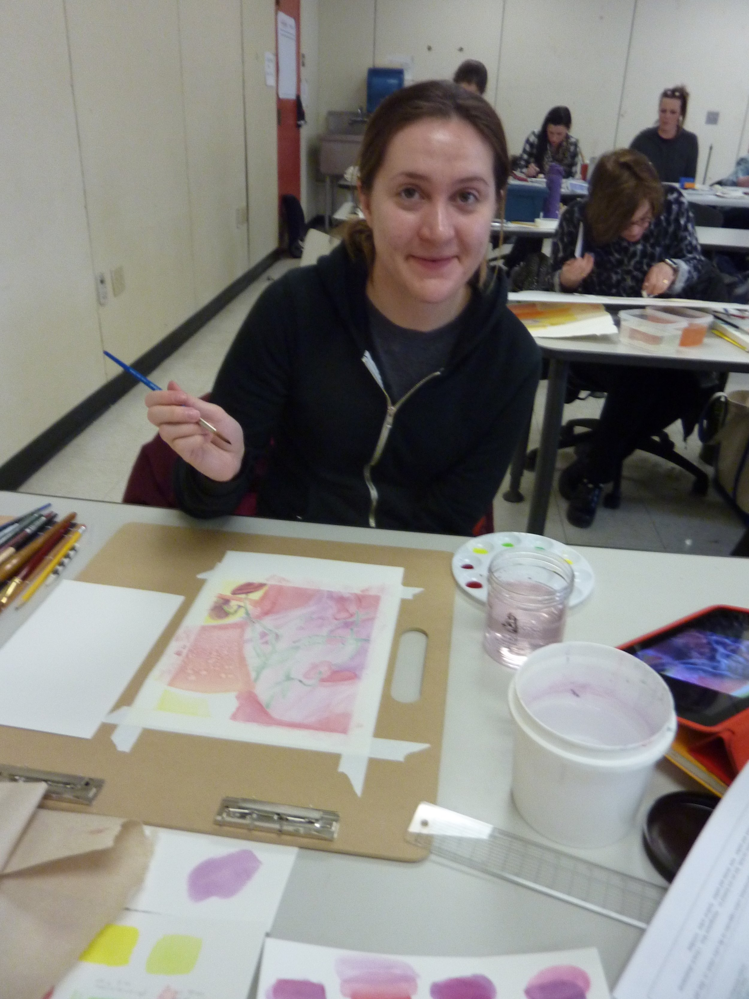 Rebecca used salt to create texture in her painting inspired by an extreme close-up photo of a flower.