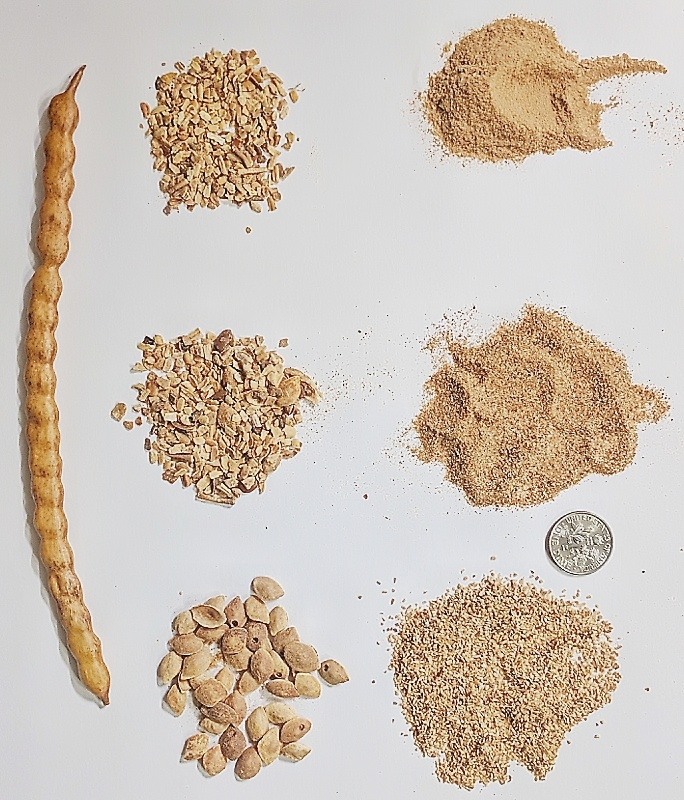 Sifted parts of a mesquite bean