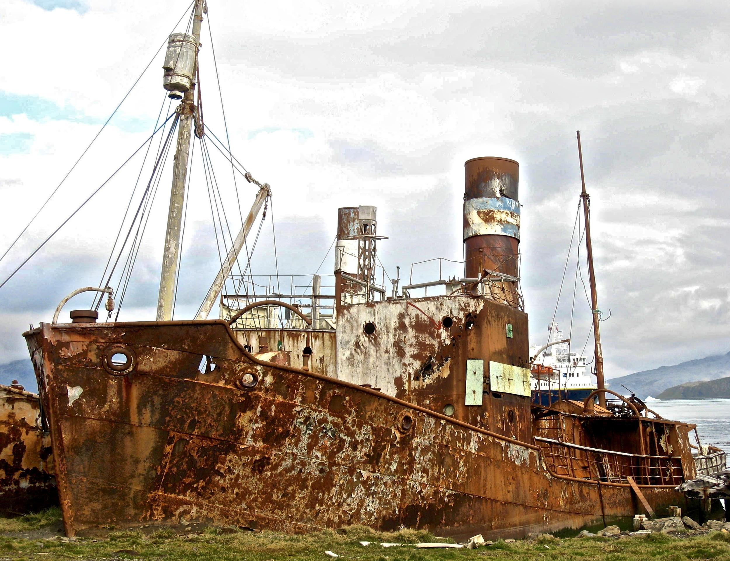 Many Rusting Ship Wrecks in Antarctica