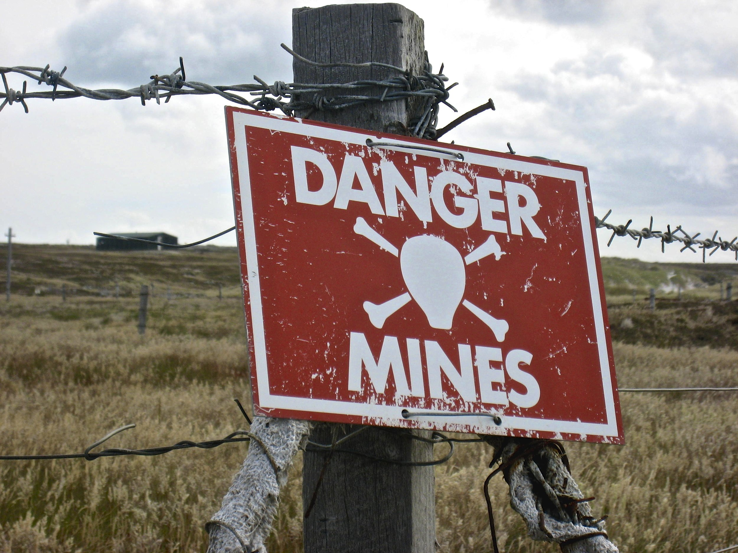 Active Mine Fields leftover from the Falklands War