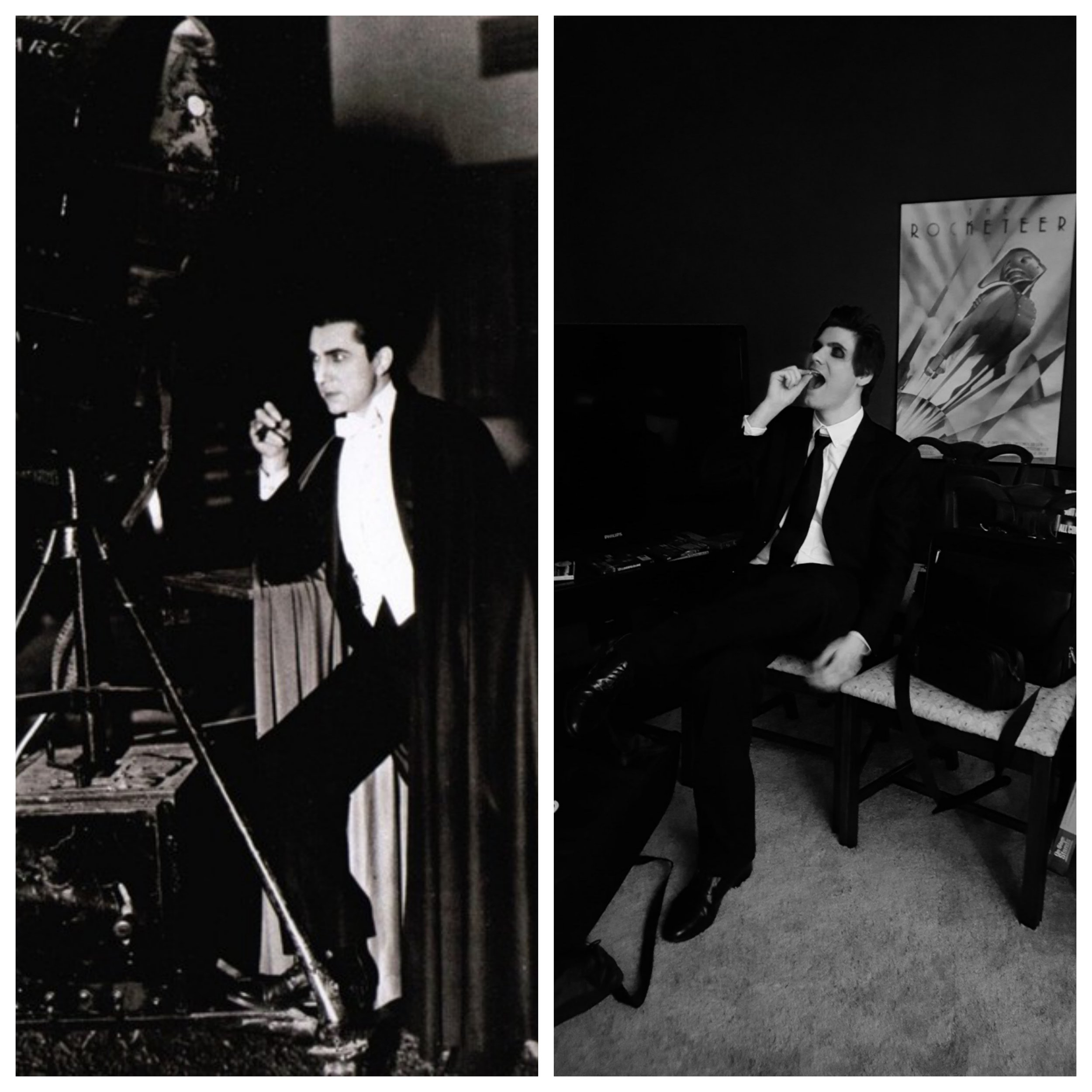 Kaz Kirkpatrick is both the star of the video and a sharp-eared, world-class sound man. Here he is pictured, alongside a publicity still of Bela Lugosi from the 1930s. Eagle-eyed readers will realize that Mr. Kirkpatrick is the one on the left... er... right. Kaz is on the right. Right?