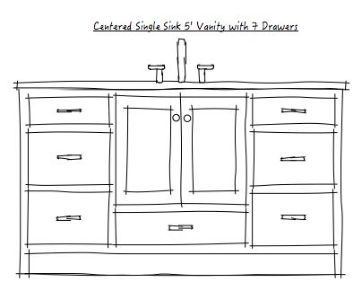 This is another take on the single bowl vanity.  the drawers are deeper on the sides, but i added the drawer below the sink - this requires plumbing to come out of the wall above the higher vanity floor - requires plumbing rough planning.