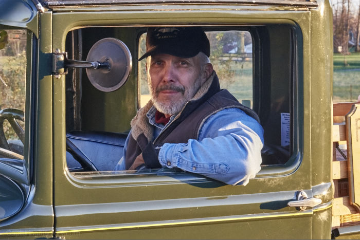 My father in his trusty Model A pickup