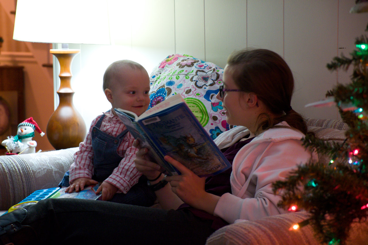 Oldest and youngest (for now) reading this past Christmas