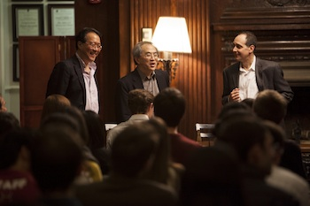 Chang, with Harvard College classmates Yo-Yo Ma and Richard Kogan, at a 2013 'Learning from Performers' event.