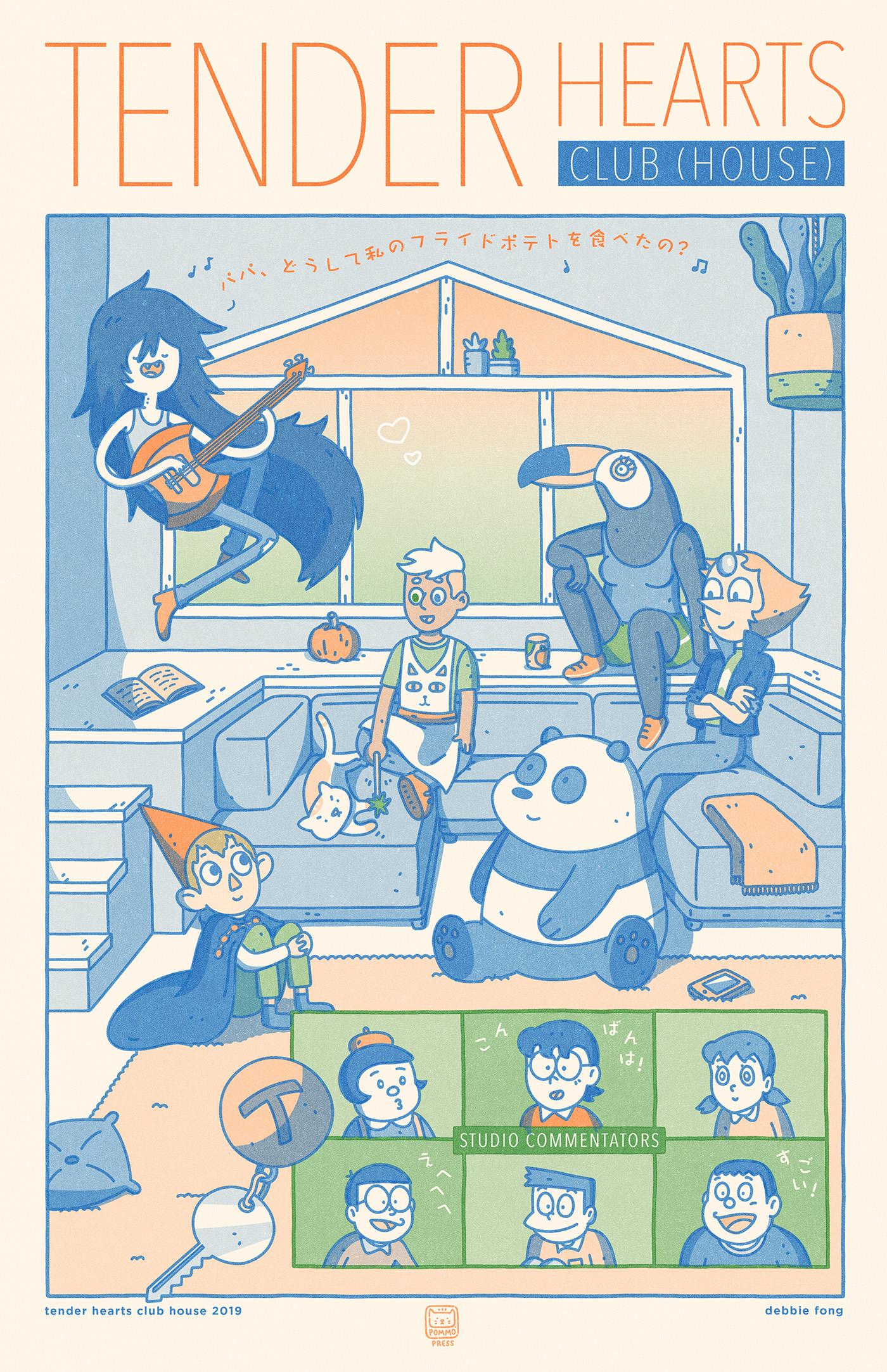 Tender Hearts Club House - Blue, Green, Orange