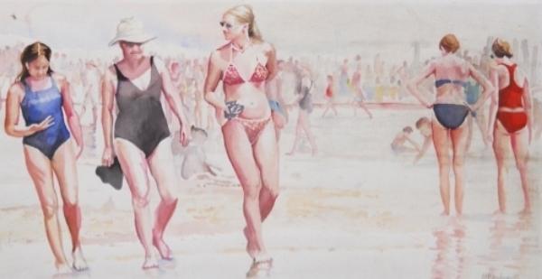 19519223-Kaufman,Beach Stroll, watercolor, 1999, $350.jpg