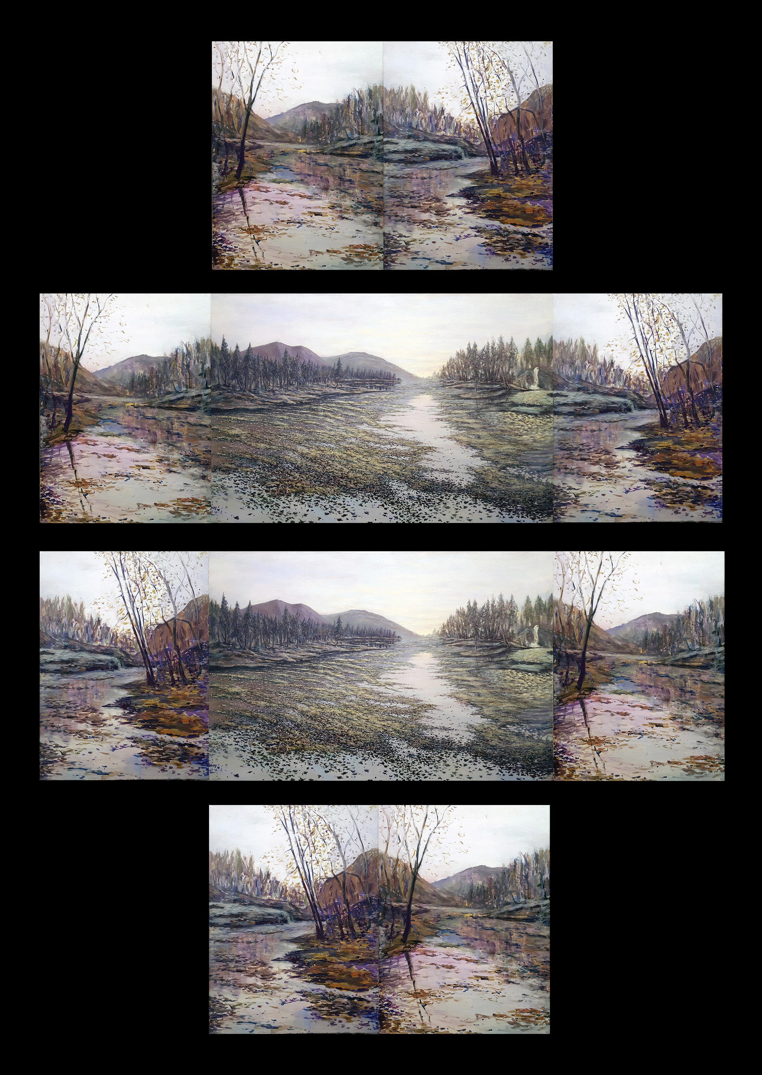 Peaceful Silence interchangeable triptych, 2008, Acrylic on 3 canvases, 2- 24 x 18 inches, 1- 24 x 36 inches Fixed.jpg