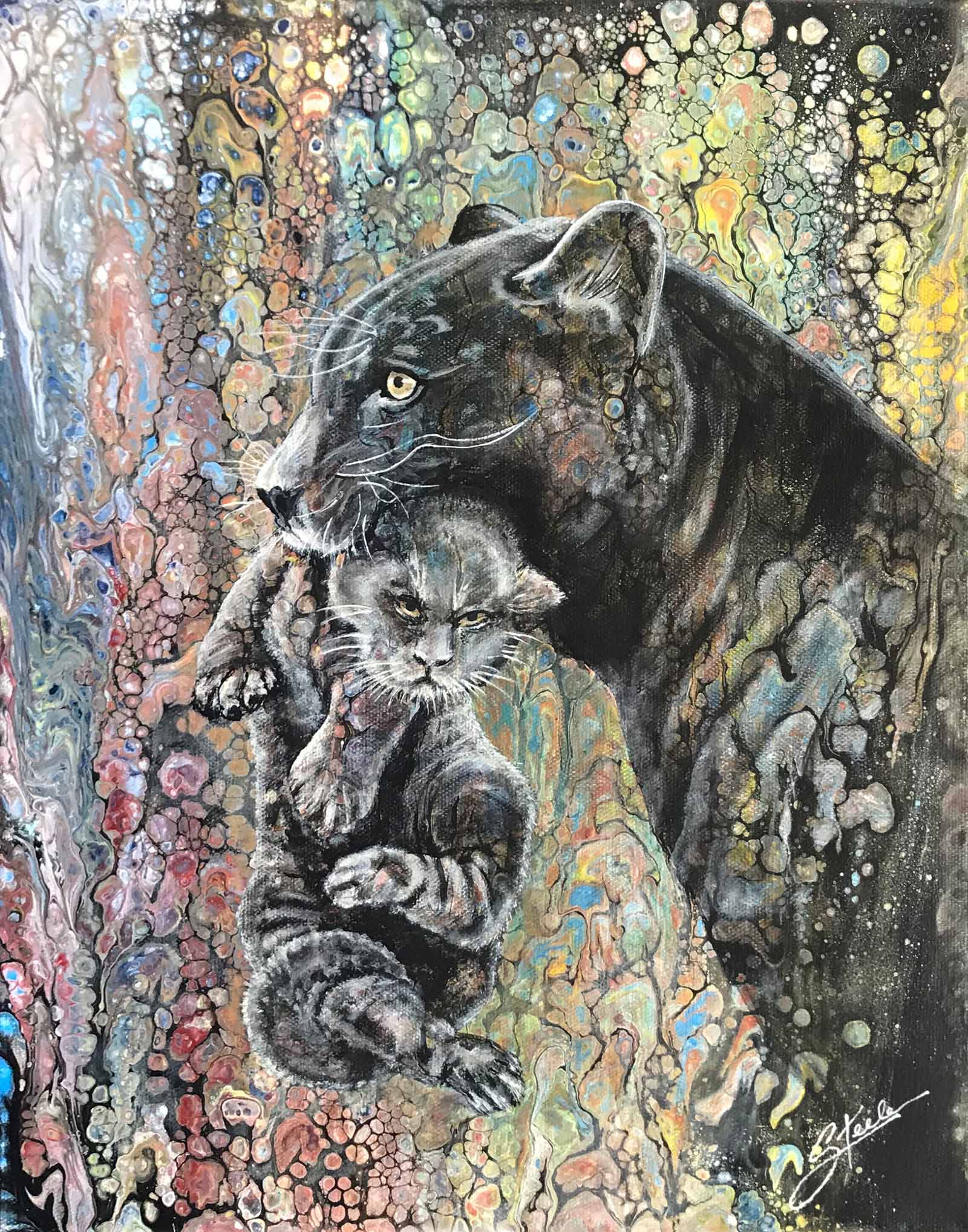 20496938-Linda Steele_Black Panther Mother's Love_Acrylic_12x16_175_2018.jpg