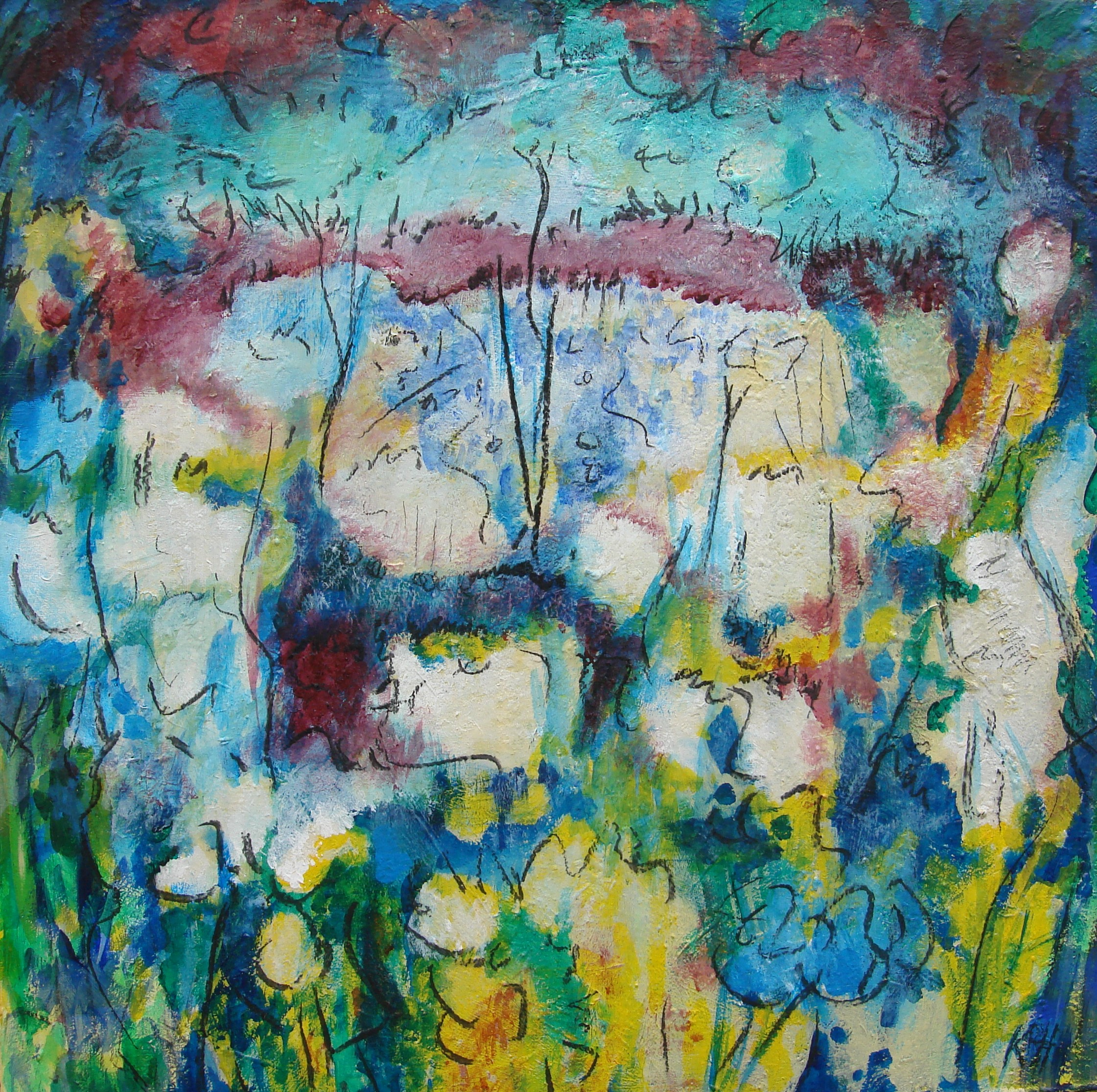 "SOLD - Dream Garden #3   30"" x 30"" - acrylic and charcoal on canvas"