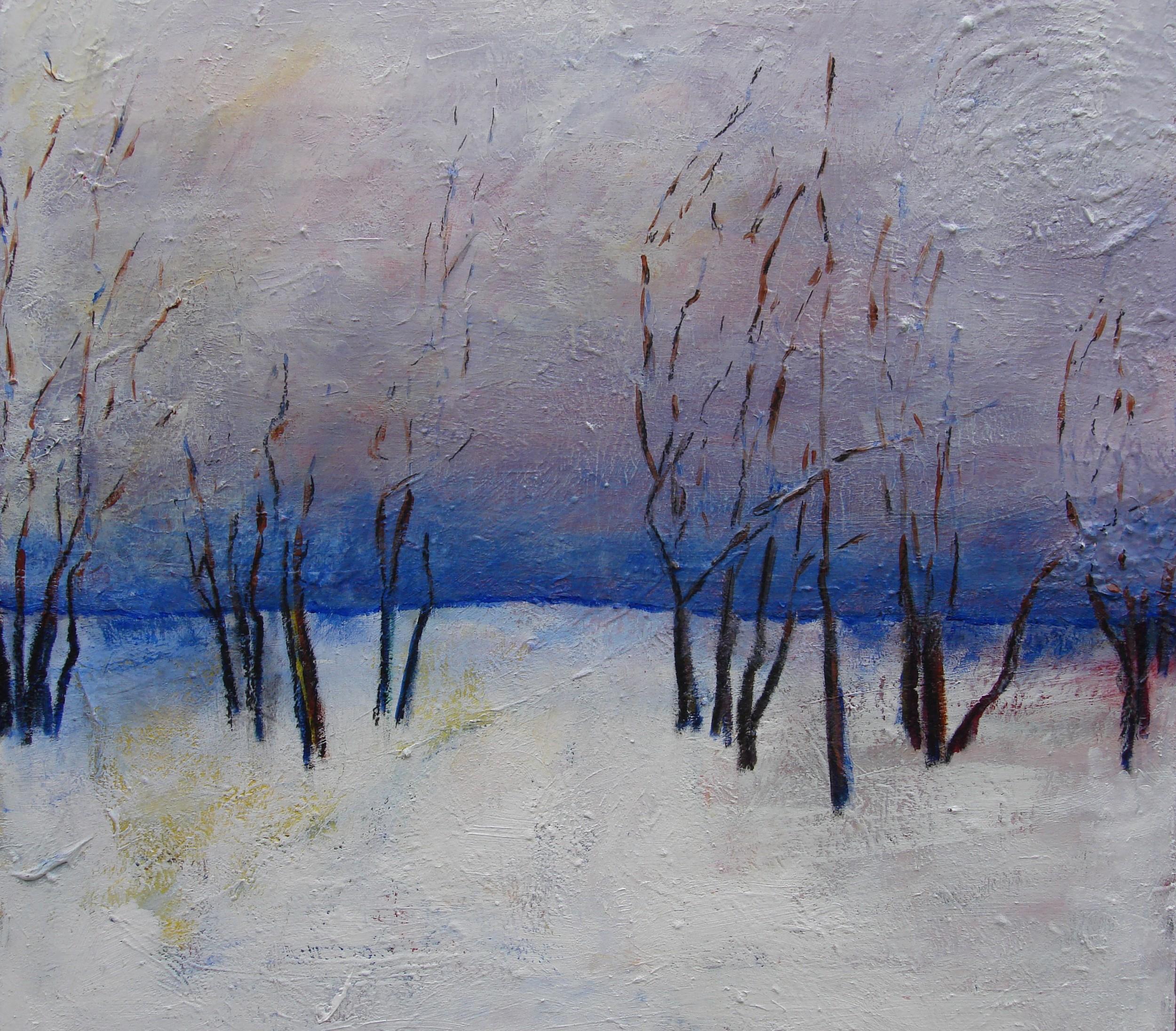 """Snow Swirl   30"""" x 30"""" - framed - acrylic on canvas"""